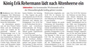König Erik Rehermann lädt nach Altenheerse ein