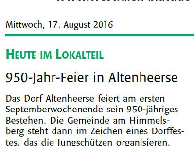 Altenheerser feiern 950-jähriges Bestehen des Ortes am Himmelsberg