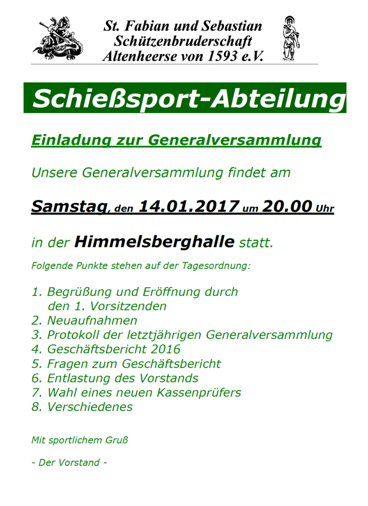 Generalversammlung 2017 der Schießsportabteilung