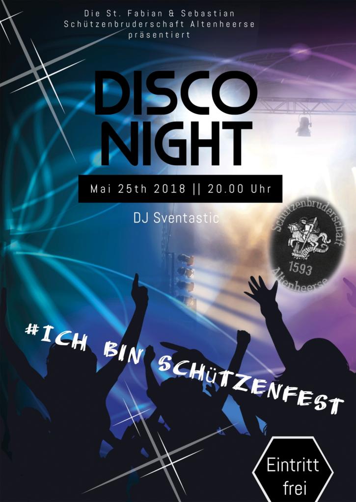 Disco-Abend am 25. Mai 2018 im Festzelt auf dem Sportplatz