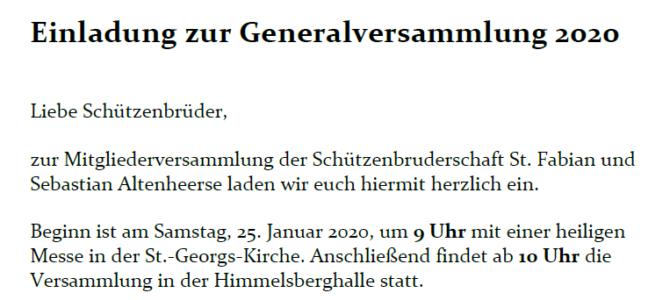Hauptversammlung 2020
